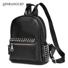 QINRANGUIO Genuine Leather Backpack Women Rivet Black