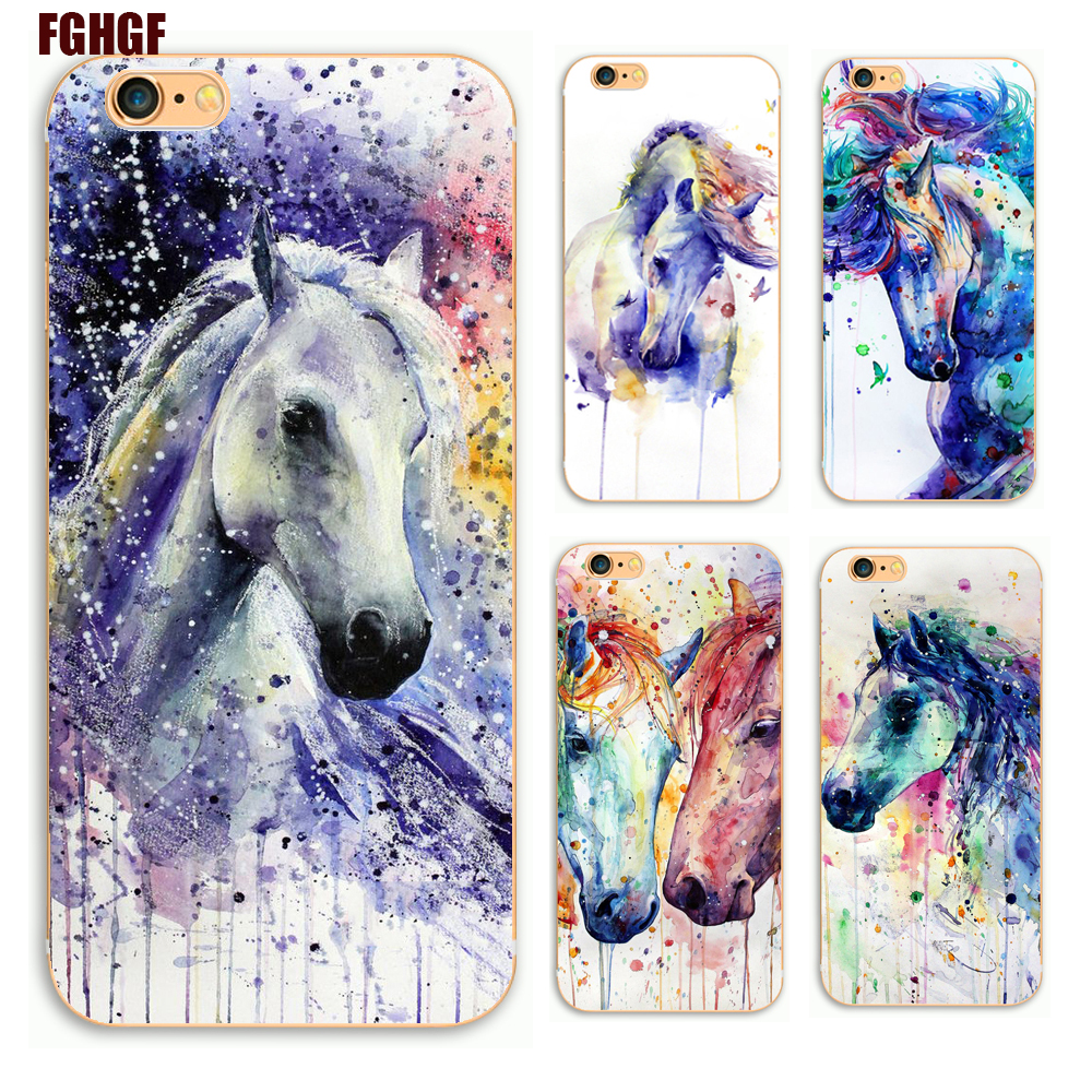 Watercolor Horses Phone Hard Plastic Case Cover For Apple