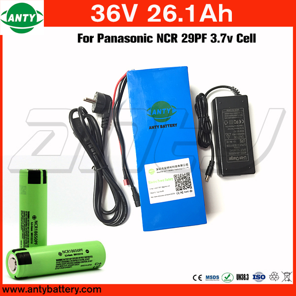 Lithium Battery Pack 36v 26.1Ah For Panasonic NCR 29PF 18650 Cell with 2A Charger Built in 50A BMS for 1400w Motor Free Shipping free shipping 50a discharge rate lithium battery 48v 50ah 18650 rechargeable li ion battery pack with 2000w bms and charger