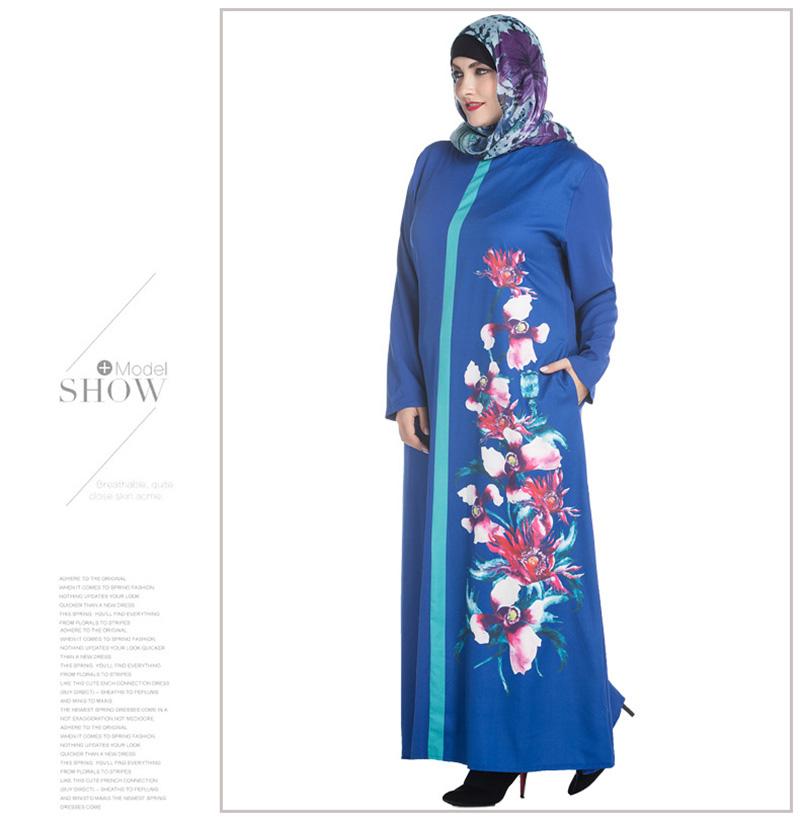 61070dbab1bff91 Плюс размер Мусульманской Абая одежда Турции Женщины Цветок печатных ...