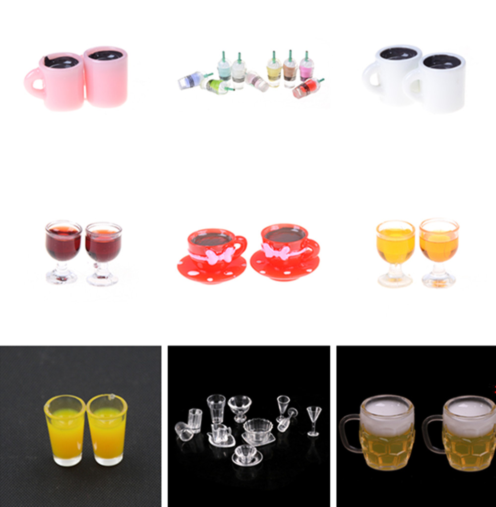 New Lemon Water Cup Glass Model Wine Beer Juicer Milk Bottle Cup Miniature Dollhouse Accessories Kitchen Toys
