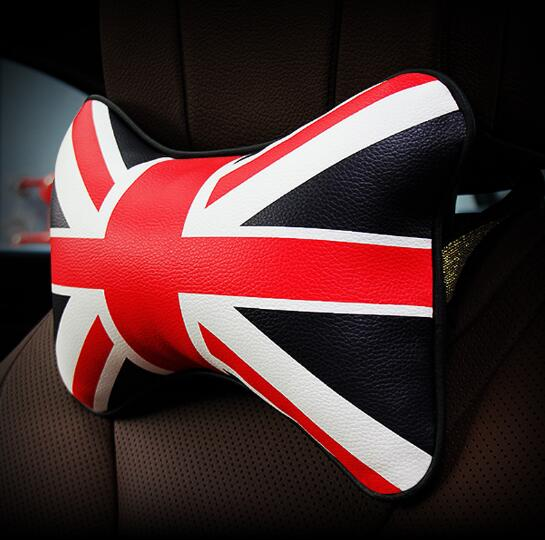 1 Piece Car Interior Cushions 3 Patterns Headrests Pillow English Flags Waist Back Selected Leather For Mini Cooper
