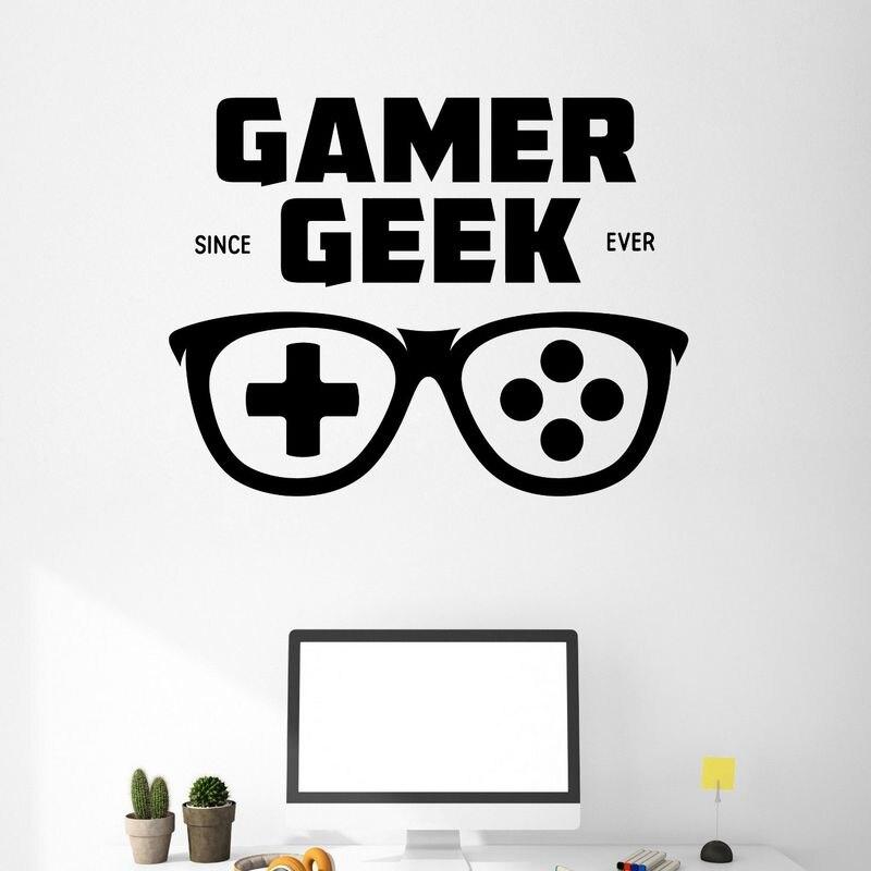 Us 306 49 Offuchwyt Do Gier Okulary Naklejki Dla Graczy Gamer Naklejka Plakaty Z Gier Dla Graczy Gamer Naklejki ścienne Winylowe Parede Decor