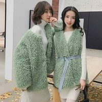 FIRSTTO 2019 Stylish Faux Lamb Sheep Fur Hairy Shaggy Bow Tied Sashes Outwear Sleeveless Jackets Vest Coat Tops 2 Colors 4 Style