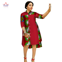 2017 Women Maxi Dress African Print Dresses for Women Three Quter Sleeve Dress Women Print Clothing Plus Size 6XL BRW WY1756