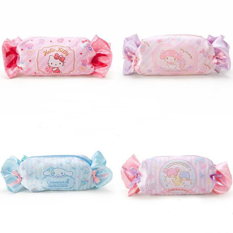 1 Pcs Kawaii Candy My Melody Hello Kitty Cinnamoroll Dogs Ice Cream Shape Large Capacity Pencil Case Women Cosmetic Pen Bag kawaii kitty melody twin star sumikko gurashi gudetama canvas big capacity pencil pen bag
