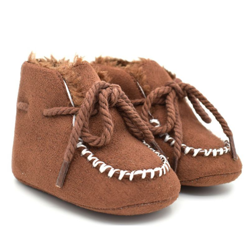 Warm Vintage Fashion Baby Girls Suede Skid Resistant Fiiting Designs Cack Lace Up First Walkers