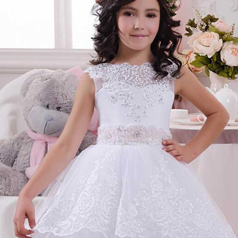 מכירה לוהטת לבן כדור שמלת פרח ילדה שמלות 2021 יפה תחרה אפליקציות לקיר ראשית הקודש שמלה עבור בנות