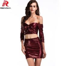 Luxury Sexy Women Off Shoulder Pink Sequins Sundress Club Waer Elegant Strapless Three Quarter Mini Party Dresses Vestido 2018