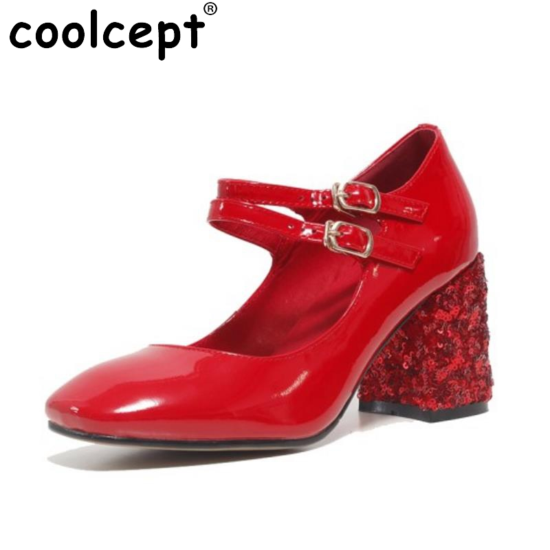 New Arrival Lady Real Leather Pumps Patent Leather Ankle Strap Thick High Heeled Shoe Women Party Wedding Shoes Size 34-39 stylesowner elegant lady pumps sandal shoe sheepskin leather diamond buckle ankle strap summer women sandal shoe