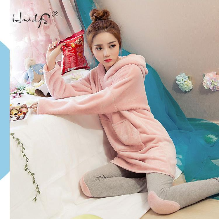 Pink Flannel Thick Sleepwear Women Winter 2 Piece Set Pajamas Set Hooded Cartoon Pyjamas With Pocket Female Casual Home Clothing-in Pajama Sets from Underwear & Sleepwears