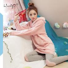 Pink Flannel Thick Sleepwear Women Winter 2 Piece Set Pajamas Set Hooded Cartoon Pyjamas With Pocket Female Casual Home Clothing