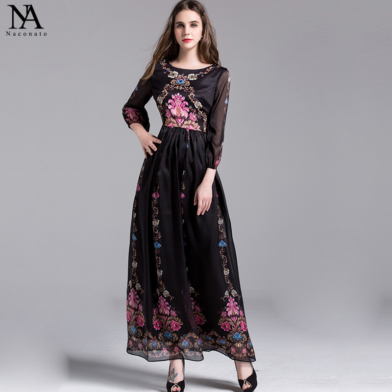 New Arrival 2018 Spring Womens O Neck Long Sleeves Floral Pattern Printed Hidden Zipper Closure Elegant Maxi Runway Dresses
