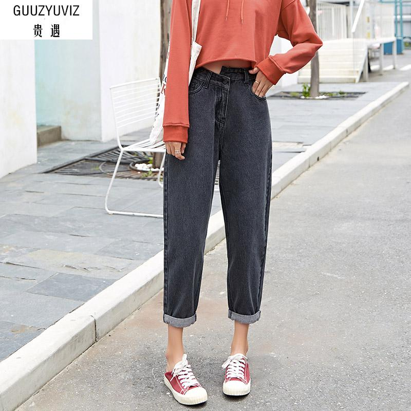 GUUZYUVIZ Vintage Casual Jeans Woman Plus Size High Waist Wide Leg Pants Loose Autumn Mujer Boyfriend Jeans For Women