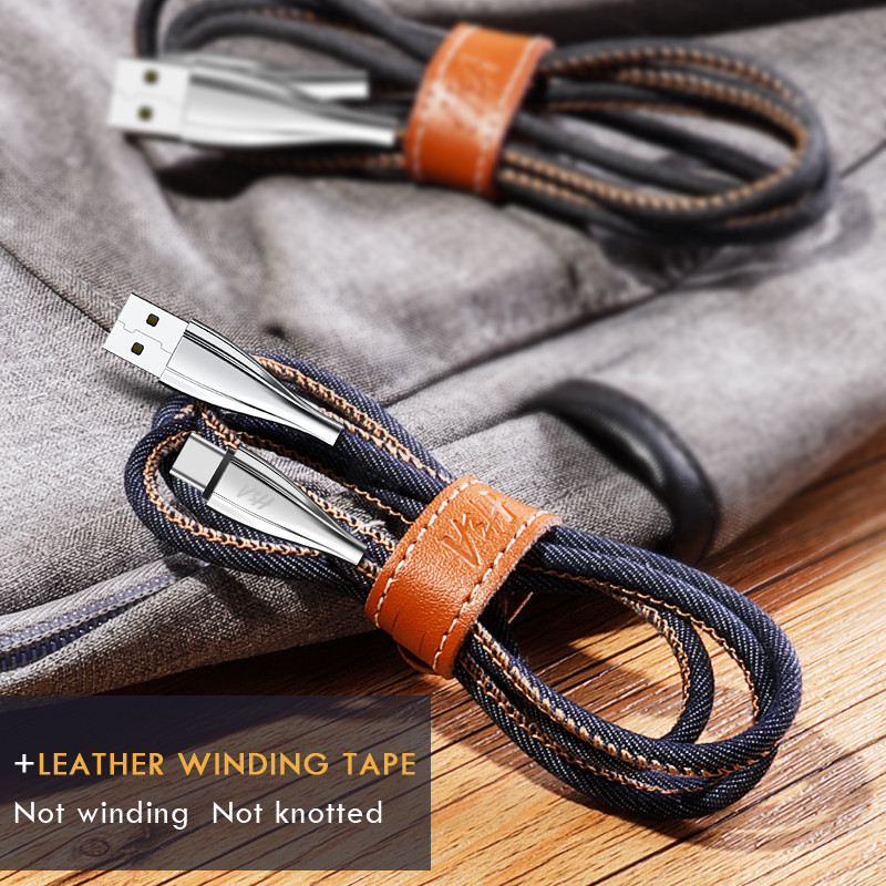 H&A 1m 1.8m USB Type C Luxury Fast Charging usb c cable Denim Type-c data Cord Charger