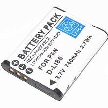 D-LI88 DLI88 DBL80 Камера Батарея для Pentax Optio P70 P80 WS80 H80 H90 W90 Black Box-18 40C Box18