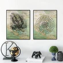 Mapa vintage de América del Norte yate Brújula de navegación y pulpo Kraken mar carteles náuticos lienzos de pintura impresos
