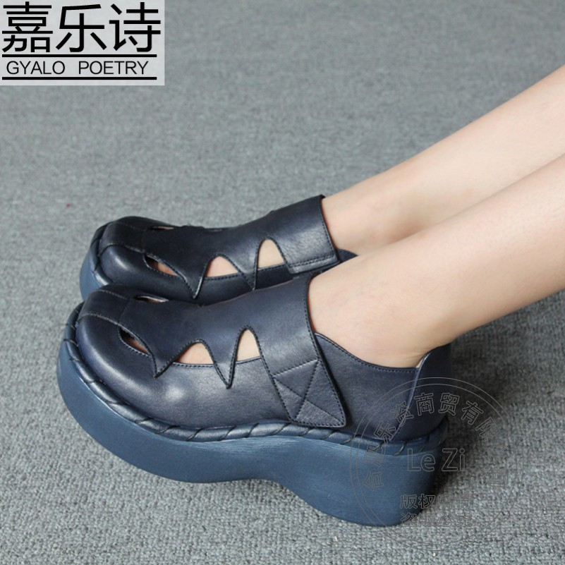 Heavy bottomed Cowhide Genuine Leather Shoes Platform font b Women b font Handmade Leather Shoes font