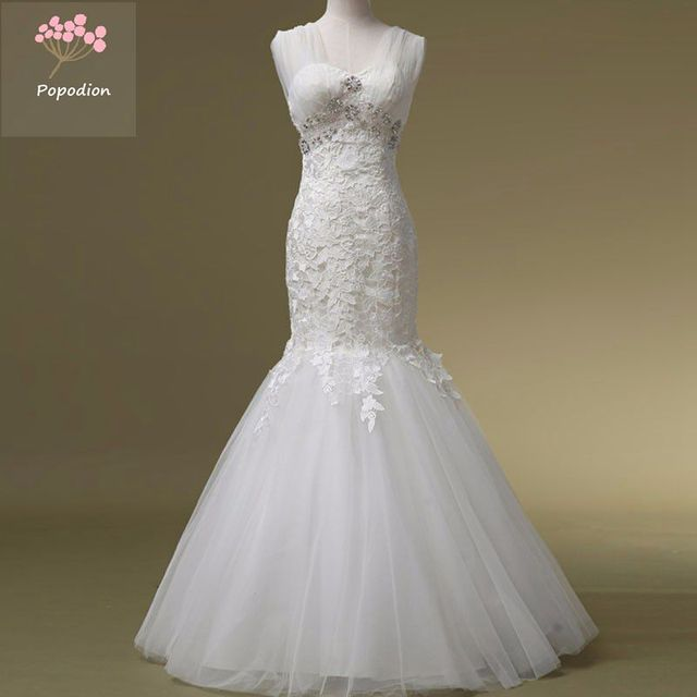 Rhinestones Mermaid Wedding Dresses Lace Wedding Gowns Plus Size ...