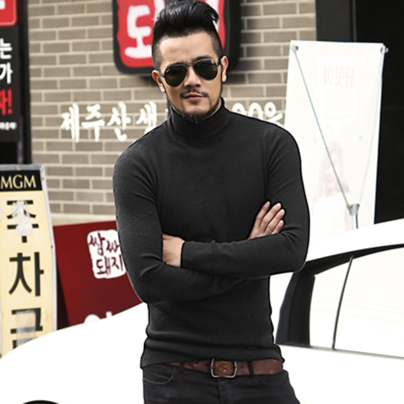 Mens Autumn Winter Black Woolen Turtleneck Sweater Slim Fit Solid Men Knit Cashmere European Style Fashion New Pullovers J701