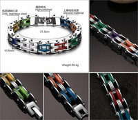 Comércio exterior de jóias corrente de bicicleta de titânio de aço Pulseira de silicone coloridas homens personalidade pulseiras bangles