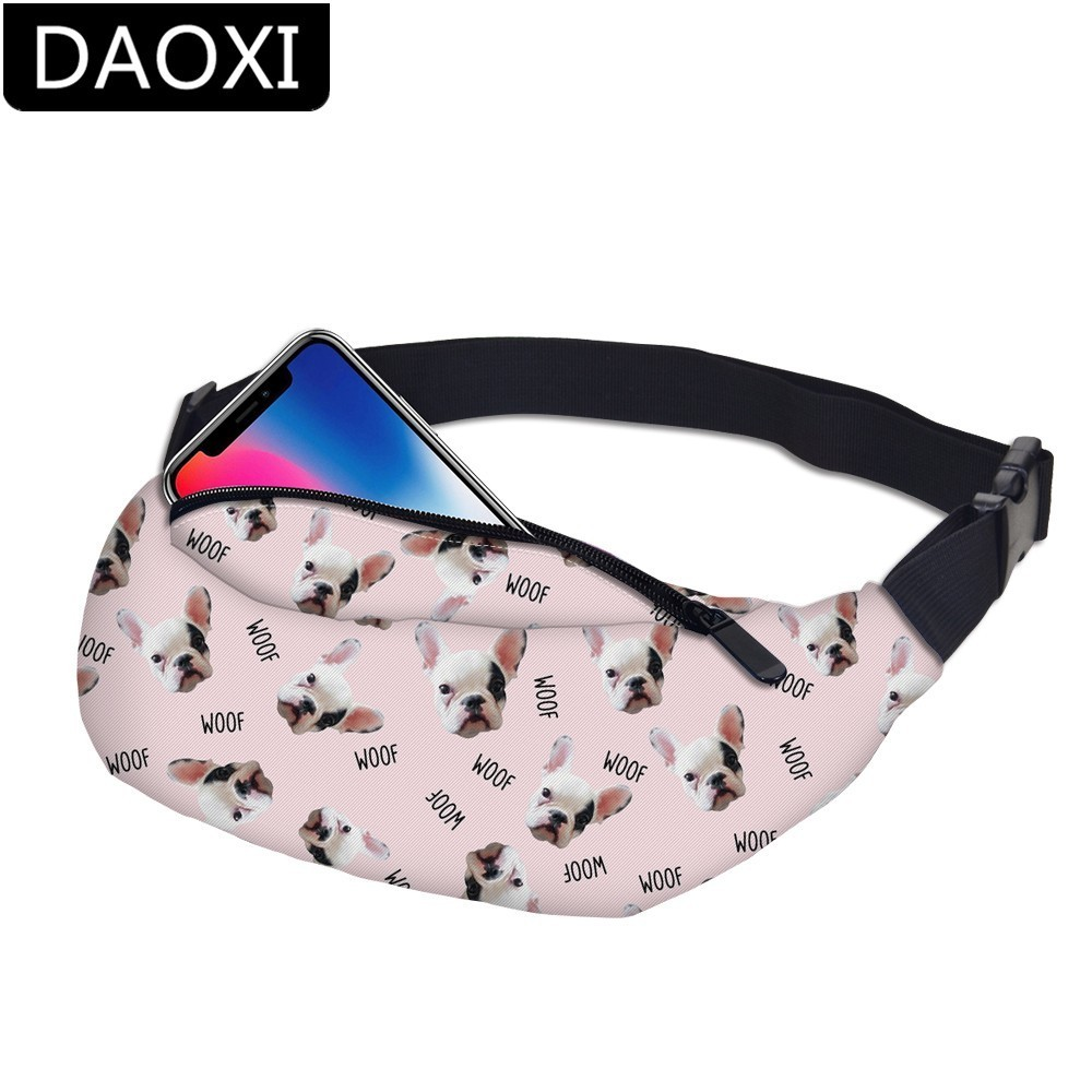 DAOXI Bulldog Waist Pack Bag For Men & Women Adjustable Buckles Waterproof Zipper Fanny Pack Belt DXYB-17