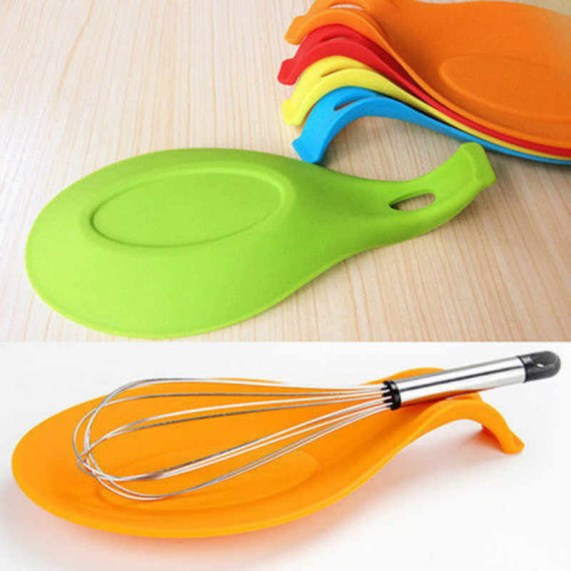 Spatula Eggbeater Heat Resistant Silicone Pad Kitchen Gadget Holder Spoon Mat US