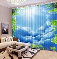 Qualquer tamanho personalizado decoração céu azul cortina da janela cortinas blackout para o quarto decoração do quarto de casa