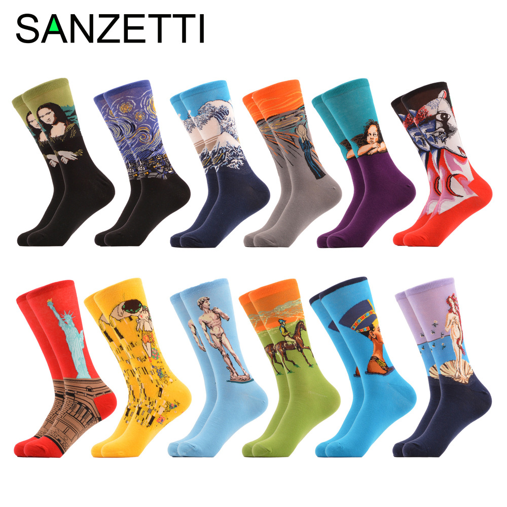 SANZETTI 12 pairs/lot Funny Mens Combed Cotton Causal Socks Retro Oli Painting Naftiti Scream Pattern Crew Skateboard Socks