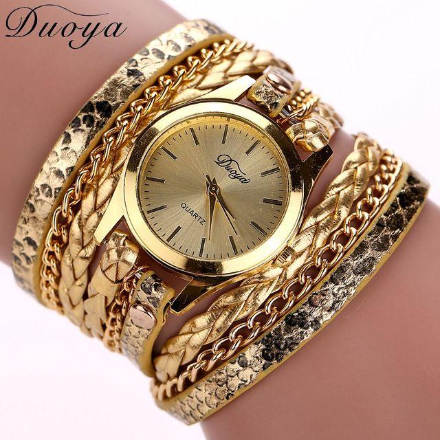 Vendita Calda Top Luxury Gold Watch Fashion Braccialetto Di Cuoio Lunga Orologio