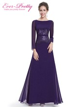 [Clearance Sale] Formal Long Evening Dresses Ever Pretty HE08635 Long Sleeves Navy Blue Evening Gowns With Sequins 2017 New