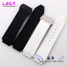 New 26mm Mens Top Grade Black Waterproof Diving Silicone Rubber Watch BAND Strap Blackbuckle Brushed Steel