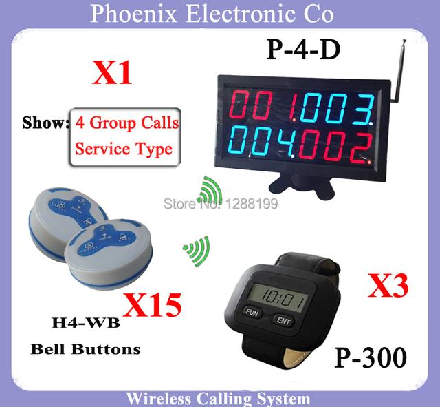 Cozinha Relógio P-300 E Receptor Sistema de Chamada Restaurante Pagers Para Bill P-4-D Mostrando 4 Chamadas em Grupo DHL Frete Grátis