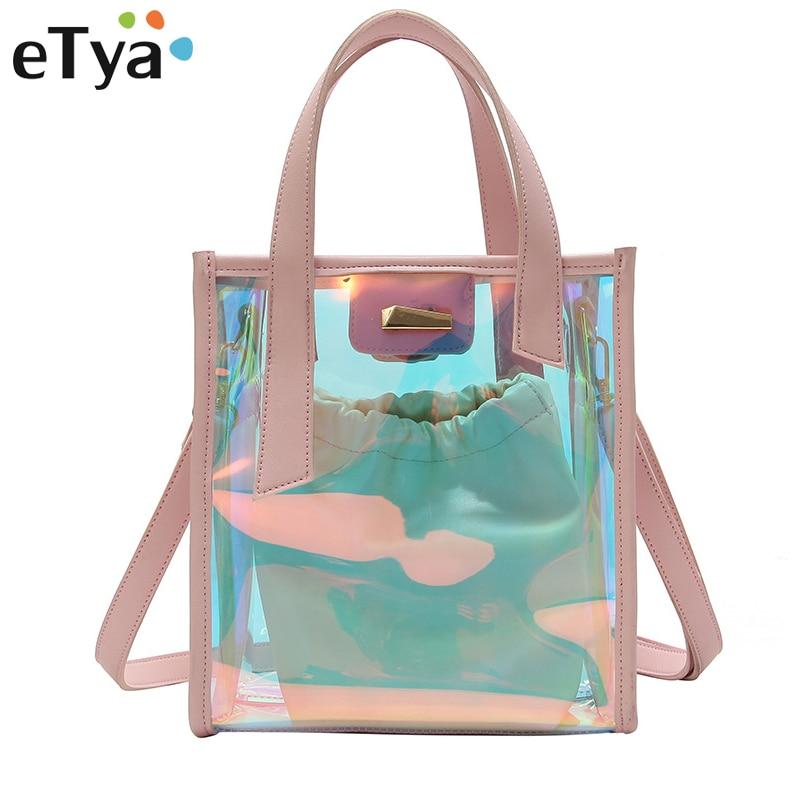 eTya Fashion Crossbody Bag For Women Transparent PVC Tote Female Shoulder Bags Handbags Large capacity Storage Travel beach bag алиэкспресс сумка прозрачная