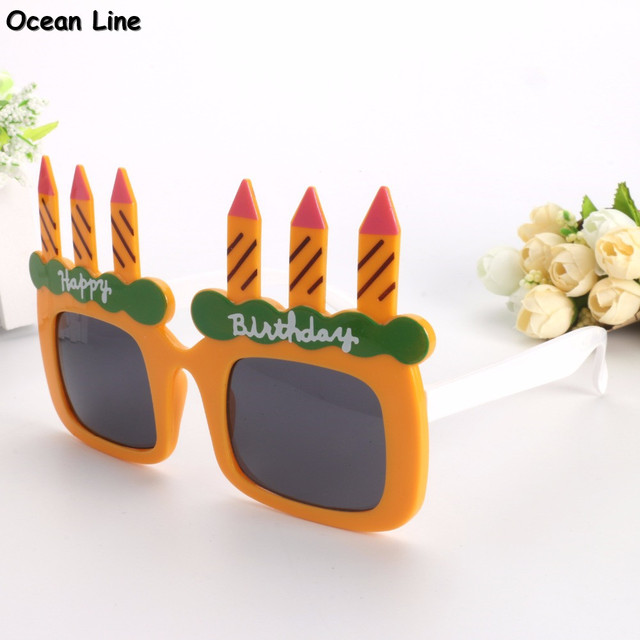 Funny Happy Birthday Cake With Candles Shaped Party Glasses Novelty Sunglasses For Supplies