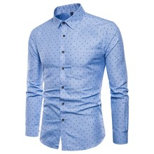 f0acea8a Men's Shirts 2019 Autumn New Arrival British Style Casual Long Sleeve Polka  dot printing Male Business