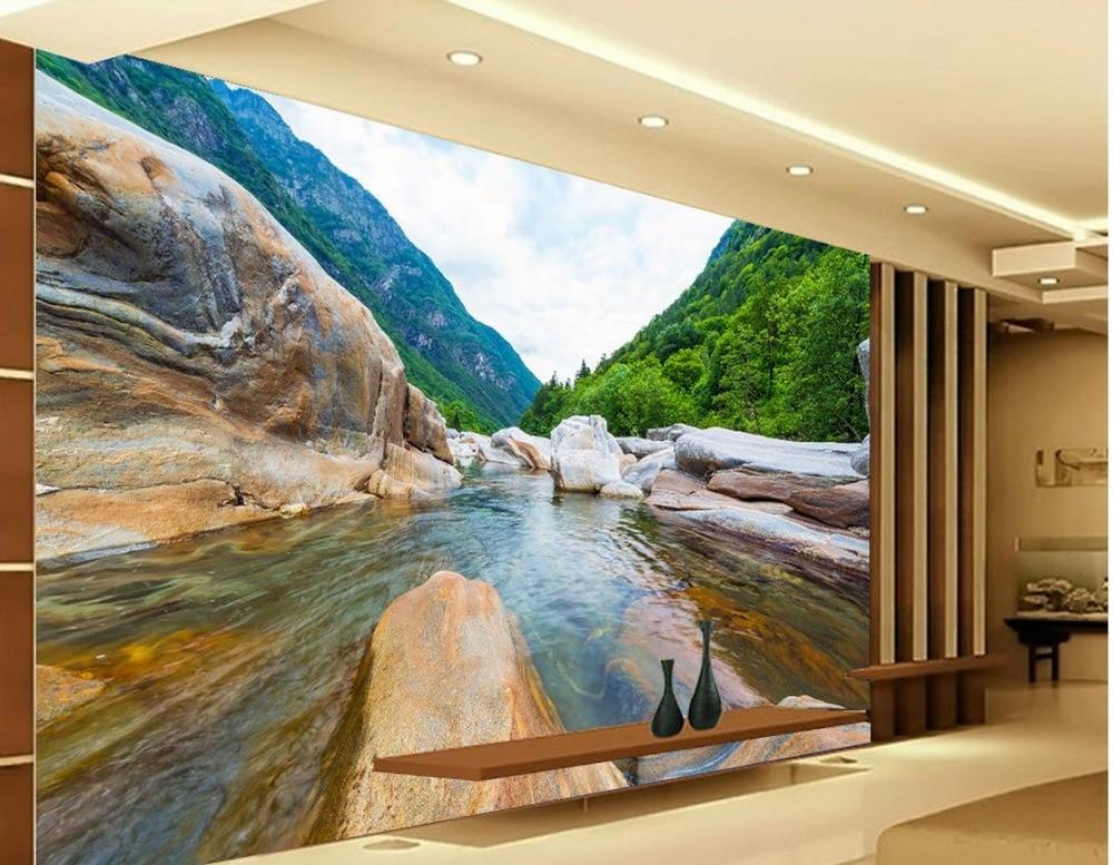 Custom 3d Photo Wallpaper 3d Wall Murals Wallpaper Hd: 3d Landscape Wallpaper Rock Landscape Water Custom Photo