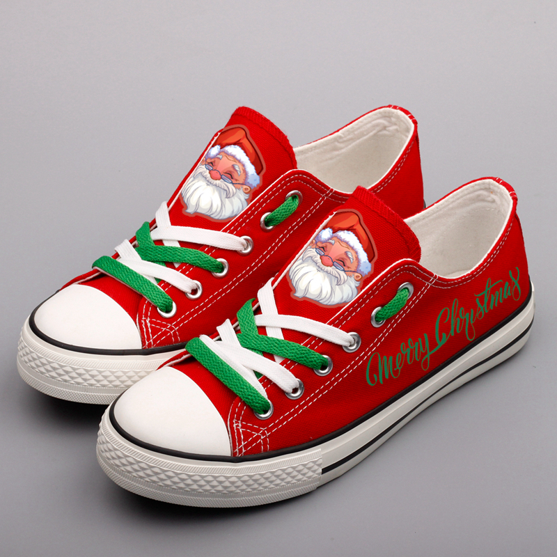 Father Christmas Santa Claus Printed Red Platform Canvas Shoes Low Top Lace-up Casual Walking Shoes Women Flats Christmas Gifts cartoon christmas santa claus printed home decor pillow case