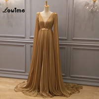Champagne Formal Evening Dresses Real Image V Neck Chiffon Pleated Party Dress 2017 Vestido Longo With Gold Belt Cheap Prom Gown