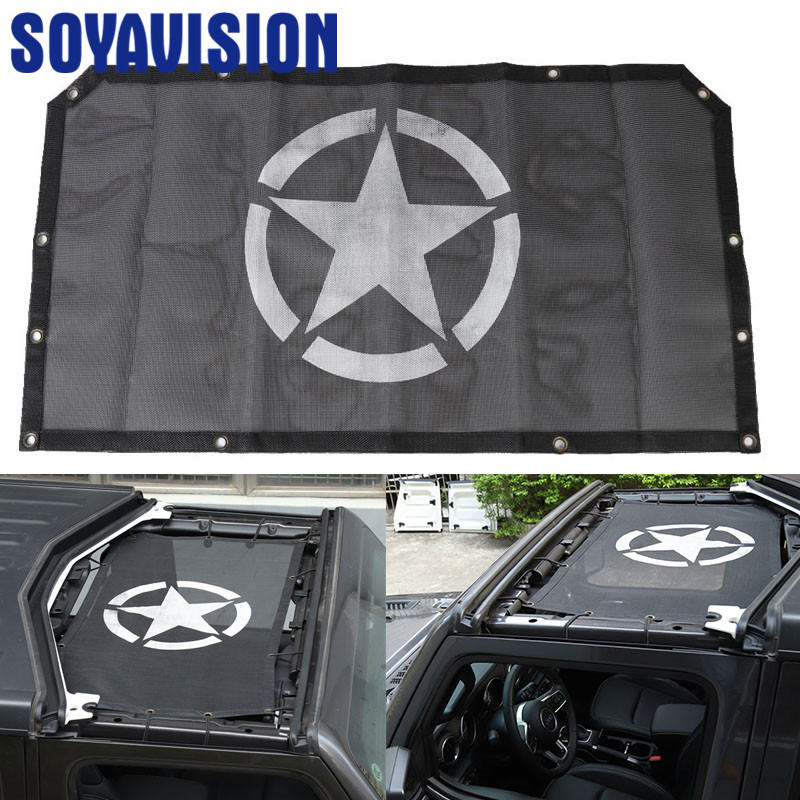 Top Mesh Sunshade Car Cover Roof UV Proof Protection Net Black for Jeep Wrangler JL 2018