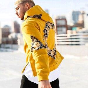 Image 4 - 2019 가을 새로운 디자인 꽃 인쇄 후드 티 남성 힙합 멋진 남성 후드 풀오버 남성 운동복 Streewear Hombres Sudaderas
