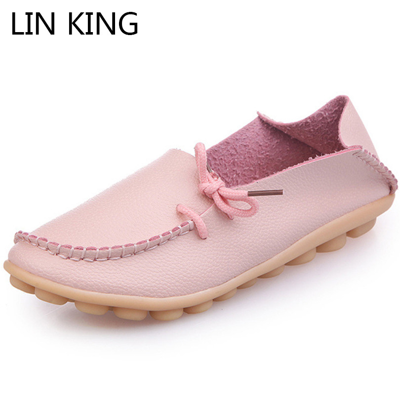 LIN KING Big Size Solid Women Flats Shoes Slip On Lazy Summer Casual Loafers Shallow Square Toe Shoes Comfortable Mother Shoes xiaying smile flats shoes women boat shoes spring summer office casual loafers slip on pointed toe shallow rubber women shoes