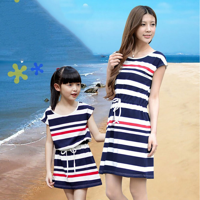 New summer Striped cotton dress family girl clothes mother and daughter matching women dress Family look mother daughter dresse