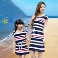 Nuevo verano de Rayas de algodón vestido de niña de la familia ropa de la madre y la hija vestido de las mujeres a juego Family look madre hija dresse