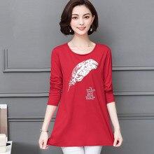L-5XL Womens Shirts Spring 2019 Fashion Casual Leaf Printing Long-sleeve Loose Tops Blouse Medium-length Bottoming Shirt Female