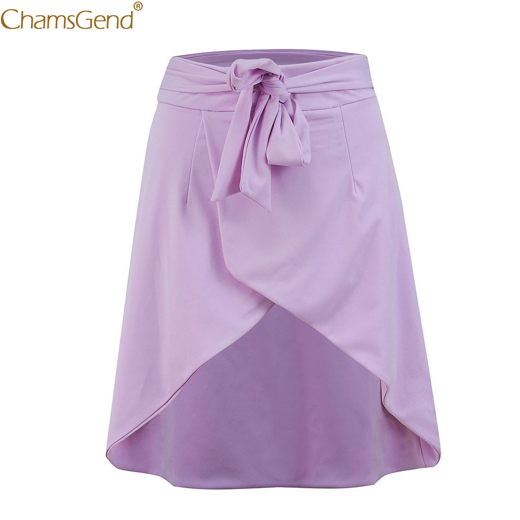 Chamsgend Women Fashion Skirt Purple Sexy Bandage Bow High Waist Short Mini Skirt Autumn casual Solid Dec28