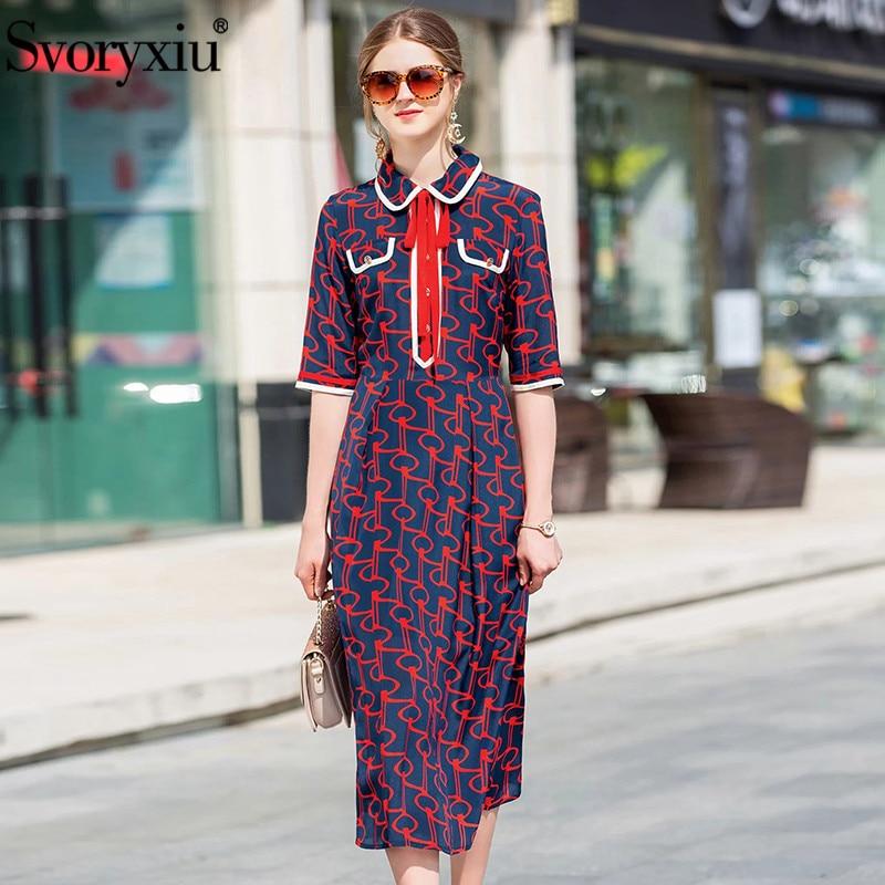 Svoryxiu Summer High Quality Silk Dress Women s Half Sleeve Runway Vintage Baroque Print Elastic Waist
