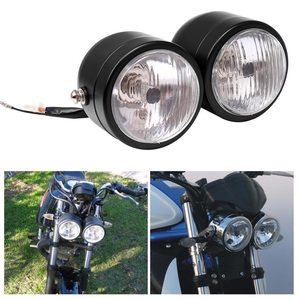 Double Round Chrome Twin Headlight Motorcycle Headlight