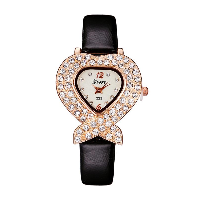 Luxe Strass Dameshorloges Mode Toevallig Hart Quartz Horloge Dames - Dameshorloges