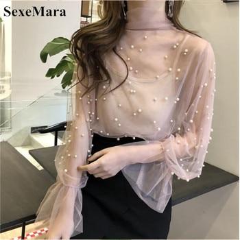 SexeMara Bluz 2019 Yaz Bahar Kadın Şifon Gömlek Gazlı Bez Yay Boncuk Kadın Bluzlar Tops Ofis Gömlek Pembe Siyah